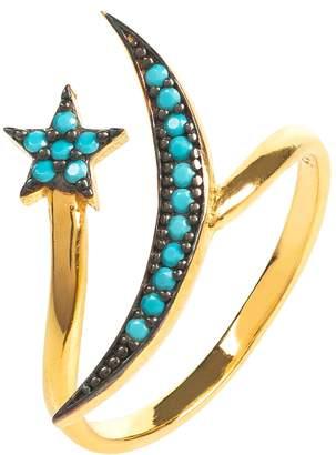 Latelita - Moon & Star Ring Gold Turquoise