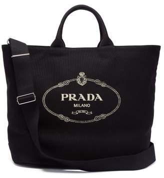Prada Logo Print Canvas Tote - Womens - Black