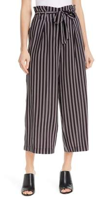 JUDITH AND CHARLES Shadow Stripe Silk Paperbag Pants