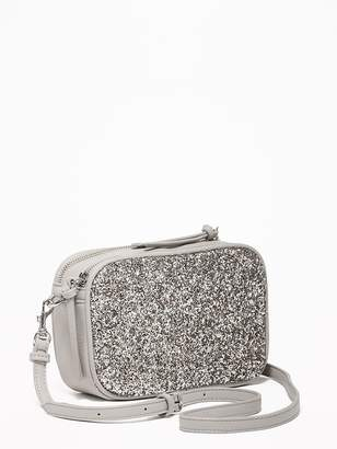 Old Navy Glitter/Faux-Leather Camera Bag for Women