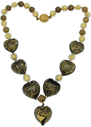 One Kings Lane Vintage Murano Glass Heart Bead Necklace - Thanks for the Memories