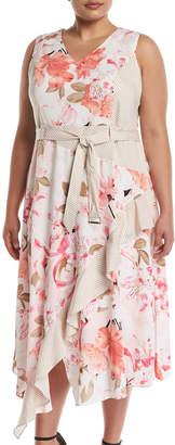 Iconic American Designer Floral V-Neck Tie-Waist Dress, Plus Size