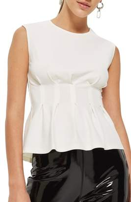 Topshop Cinched Waist Sleeveless Blouse