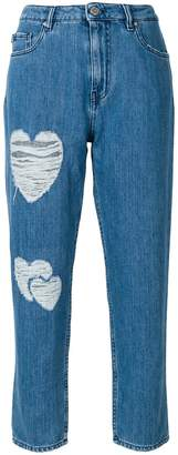 Love Moschino heart patch straight jeans
