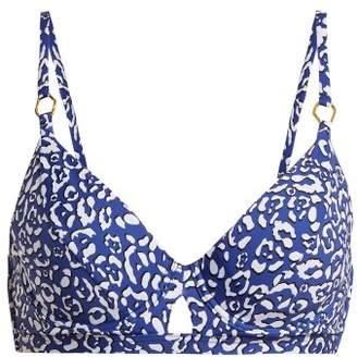 Biondi - Masai Leopard Print Bikini Top - Womens - Blue Print