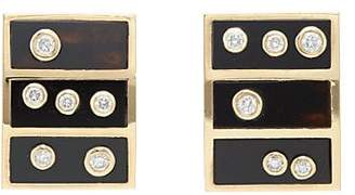 RETROUVAI Women's White Diamond & Onyx Stud Earrings