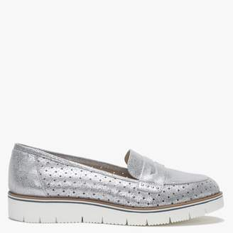 Daniel Cassey Silver Metallic Suede Perforated Loafers