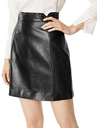 Karen Millen Studded Leather Mini Skirt