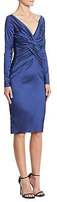Talbot Runhof Women's Long-Sleeve Ruched Satin Dress