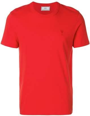 Ami Alexandre Mattiussi crewneck T-shirt red Ami de Coeur embroidery