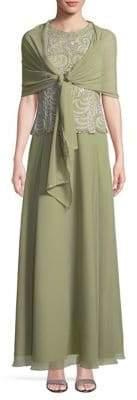 J Kara Embellished Sleeveless Floor-Length Gown