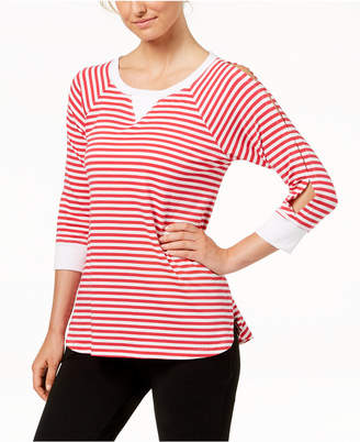 Calvin Klein Striped Keyhole-Sleeve Curved-Hem Top