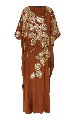 Josie Natori Couture Leaf Embellished Square Caftan