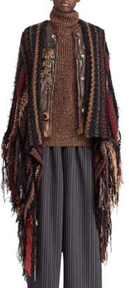 Ralph Lauren 50th Anniversary Chenille Textured Stripe Poncho w/ Fringe