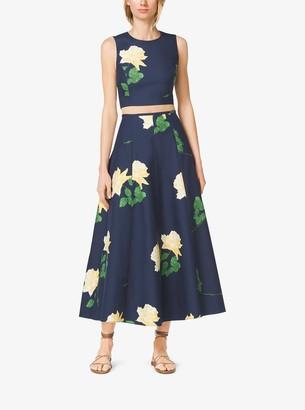 Michael Kors Rose-Print Silk and Wool Mikado Skirt