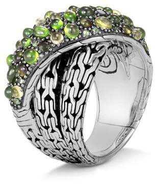 John Hardy Sterling Silver Classic Chain Crossover Ring with Green Tourmaline, Chrome Diopside & Peridot