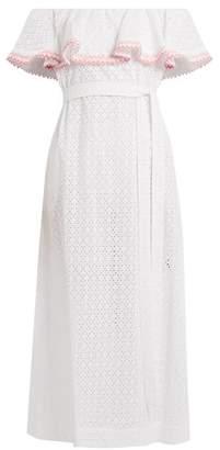 Lisa Marie Fernandez Mira Ruffle Trimmed Broderie Anglaise Cotton Dress - Womens - White Multi