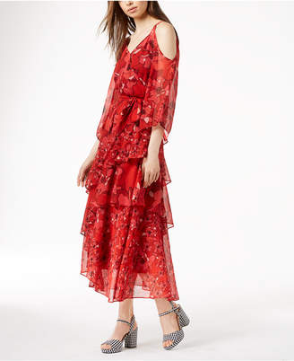 Bar III Printed Ruffle Cold-Shoulder Maxi Dress, Created for Macy's