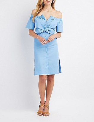 Tie-Front Off-The-Shoulder Button-Up Dress $38.99 thestylecure.com