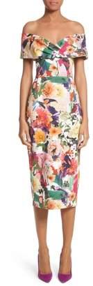 Cushnie et Ochs Floral Print Off the Shoulder Sheath Dress