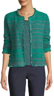 Nic+Zoe Must Have Open-Front Tweed Jacket w/ Fringe Trim, Plus Size