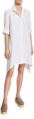 Finley Bruno Button-Front Long-Sleeve Uneven-Hem Shirtdress