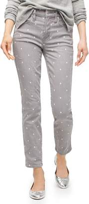 J.Crew Vintage Straight Jeans in Grey Scattered Dot