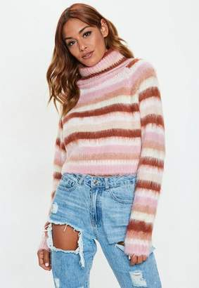 Missguided Pink Turtle Neck Brushed Stripe Cropped Sweater