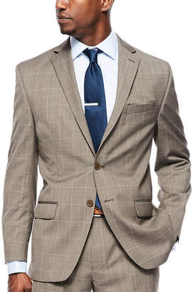 COLLECTION Collection by Michael Strahan Brown Tic Plaid Suit Jacket - Classic Fit