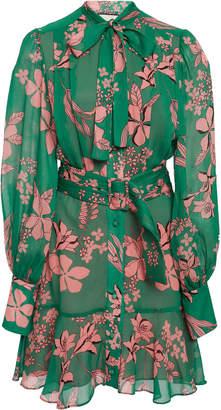 Alexis Tisdale Ruffled Floral-Print Chiffon Mini Dress