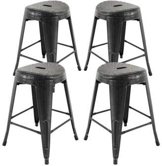 "Vogue Furniture Direct Barstool 24"" backless metal Stool Yellow"