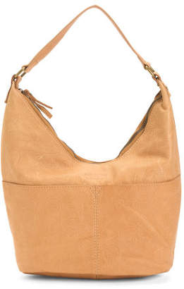 Leather Carrie Tooled Zip Top Hobo