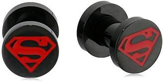 DC Comics Unisex Superman Red Enamel Black Pvd Plated Screw Fit Plugs