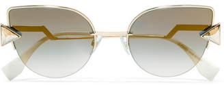 cd722cb65 ... Fendi Embellished Cat-eye Gold-tone Mirrored Sunglasses