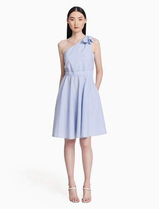 Calvin Klein striped one-shoulder fit + flare dress