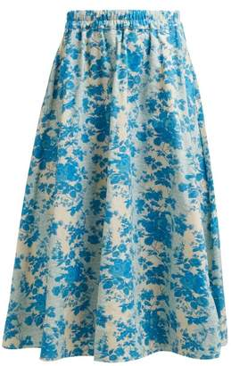 By Walid Daisy Floral Print Cotton Canvas Midi Skirt - Womens - Blue Print