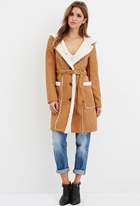 FOREVER 21+ Hooded Faux Suede Coat $69.90 thestylecure.com