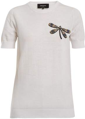 Rochas Dragonfly-appliqué cotton-knit top