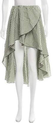 Caroline Constas Gingham High-Low Skirt
