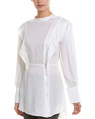 BCBGMAXAZRIA Women's Asymmetric Button Front Shirt