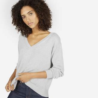 Everlane The Cotton Long-Sleeve V-Neck Crop