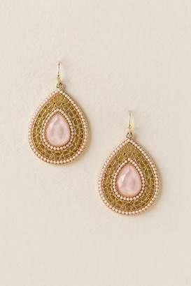 francesca's Malia Stone Filigree Drop Earrings in Blush - Blush