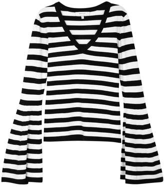 Milly Striped Flared-sleeve Stretch-knit Top