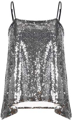 4a0b0a467890a Lemon L E M O N Richlulu Womens Sparkly Sequin Spaghetti Strap Ruffled Club  Star Tank Top