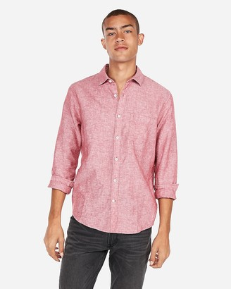 Express Slim Linen-Blend Shirt