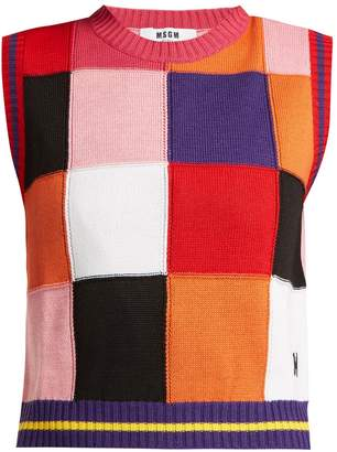 MSGM Multicoloured patchwork knit sweater