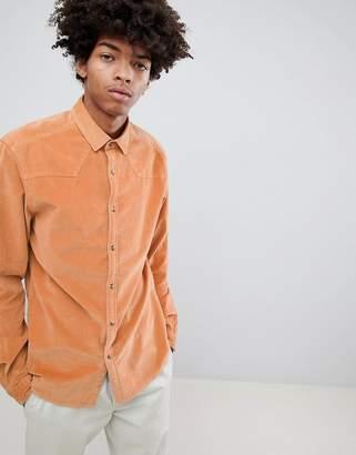 Asos Design DESIGN stretch slim western cord shirt in pale orange