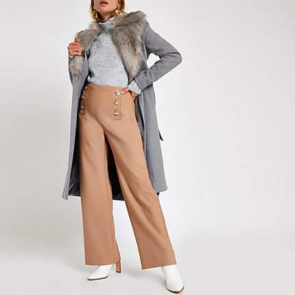 Womens Grey faux fur trim belted robe coat