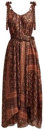 Zimmermann Juniper Scarf Print Silk Midi Dress - Womens - Black Print