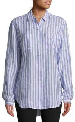 Lord & Taylor Stripe Linen Button-Down Shirt